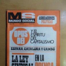Coleccionismo de Revistas y Periódicos: Nº 172 - MS MUNDO SOCIAL - 15/12/1969 - OPUS DEI Y EL ESPIRITU DEL CAPITALISMO - FOMENTO SOCIAL. Lote 157890454