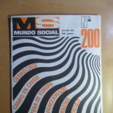 Coleccionismo de Revistas y Periódicos: Nº 200 - MS MUNDO SOCIAL - 15/06/1972 - FOMENTO SOCIAL. Lote 157956586