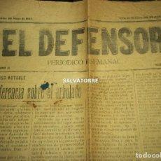 Coleccionismo de Revistas y Periódicos: PERIODICO EL DEFENSOR.SEMANAL.1907.LA OROTAVA.TENERIFE.CANARIAS.. Lote 158276010
