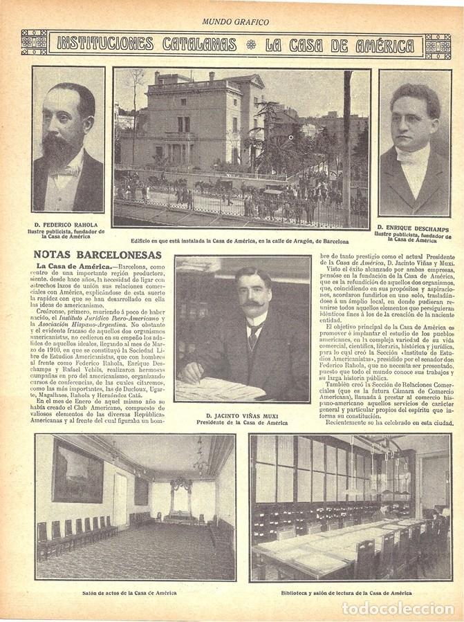 Coleccionismo de Revistas y Periódicos: 1912 HOJAS REVISTA BARCELONA LA CASA DE AMÉRICA FEDERICO RAHOLA ENRIQUE DESCHAMPS JACINTO VIÑAS MUXI - Foto 2 - 158500114