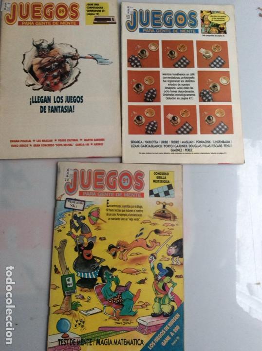 JUEGOS PARA GENTE DE MENTE LOTE DE 3 REVISTAS - REVISTA DE JUEGOS DE LOGICA (Coleccionismo - Revistas y Periódicos Modernos (a partir de 1.940) - Otros)