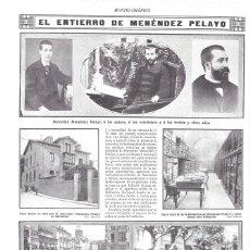 Colecionismo de Revistas e Jornais: 1912 HOJA REVISTA SANTANDER ENTIERRO MARCELINO MENÉNDEZ PELAYO CASA NATAL BIBLIOTECA MINISTRO ALBA. Lote 159542426