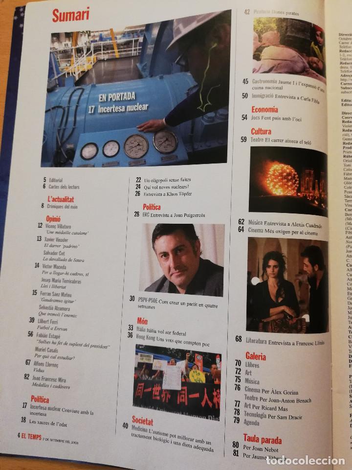 Coleccionismo de Revistas y Periódicos: REVISTA EL TEMPS Nº 1264 (ASCÓ, COFRENTS, VANDELLÒS. INCERTESA NUCLEAR) - Foto 2 - 160462898