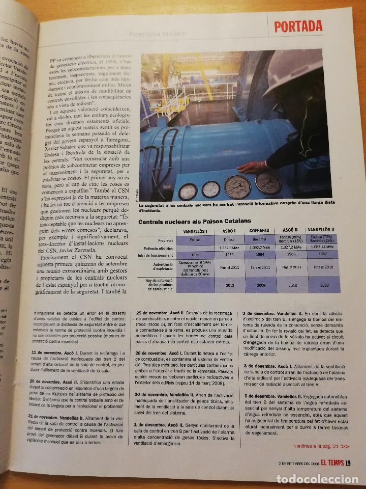 Coleccionismo de Revistas y Periódicos: REVISTA EL TEMPS Nº 1264 (ASCÓ, COFRENTS, VANDELLÒS. INCERTESA NUCLEAR) - Foto 3 - 160462898