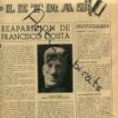 Coleccionismo de Revistas y Periódicos: DESTINO AÑO 1939 POSGUERRA ARTE EN BARCELONA FRANCISCO FRANCESC COSTA VIOLINISTA PINTOR SANTASUSAGNA. Lote 160550050