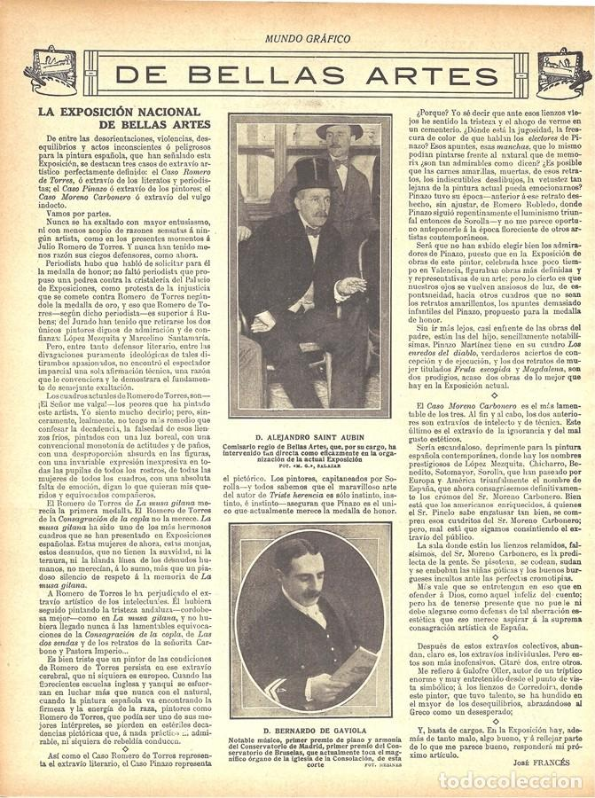 1912 HOJA REVISTA MADRID PREMIO DEL CONSERVATORIO MÚSICO PIANISTA ORGANISTA BERNARDO DE GAVIOLA (Coleccionismo - Revistas y Periódicos Antiguos (hasta 1.939))