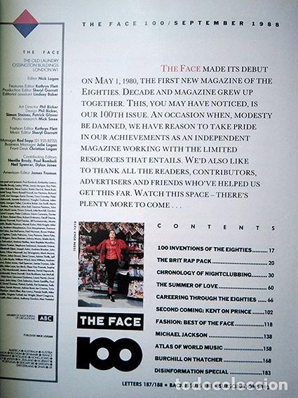 Coleccionismo de Revistas y Periódicos: The Face Magazine No. 100 September 1988 – Killer 100th Issue · Neville Brody · Nick Logan - Foto 4 - 161410682