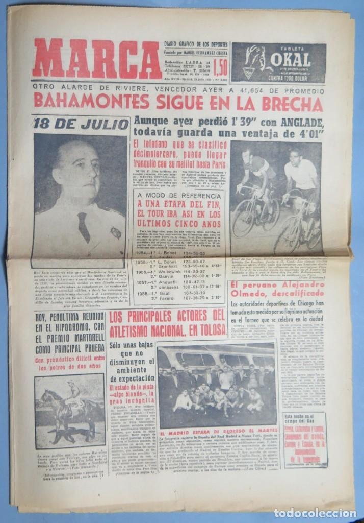 PERIODICO. MARCA. TOUR FRANCIA. BAHAMONTES. 18 JULIO 1959 (Coleccionismo - Revistas y Periódicos Modernos (a partir de 1.940) - Otros)