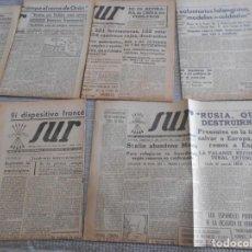 Coleccionismo de Revistas y Periódicos: PERIODICOS DE 2 GUERRA MUNDIAL DIARIO SUR DE FALANGE NOTICIAS DIVISION AZUL TROPAS ALEMANAS ETC. Lote 161769054