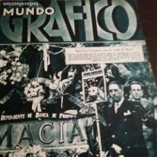 Coleccionismo de Revistas y Periódicos: MUNDO GRAFICO AÑO 1934 COMPANYS ANTE TUMBA MACIA MACIA- SANJURJO DUESO . Lote 161868242