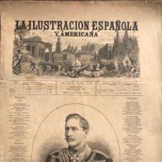 Coleccionismo de Revistas y Periódicos: ILUSTRACIÓN ESP 1887. CONSTRUCCIÓN MONUMENTO COLON BARCELONA. TRUBIA ISLA PEREJIL.EJECUCIÓN CHICAGO. Lote 149696061