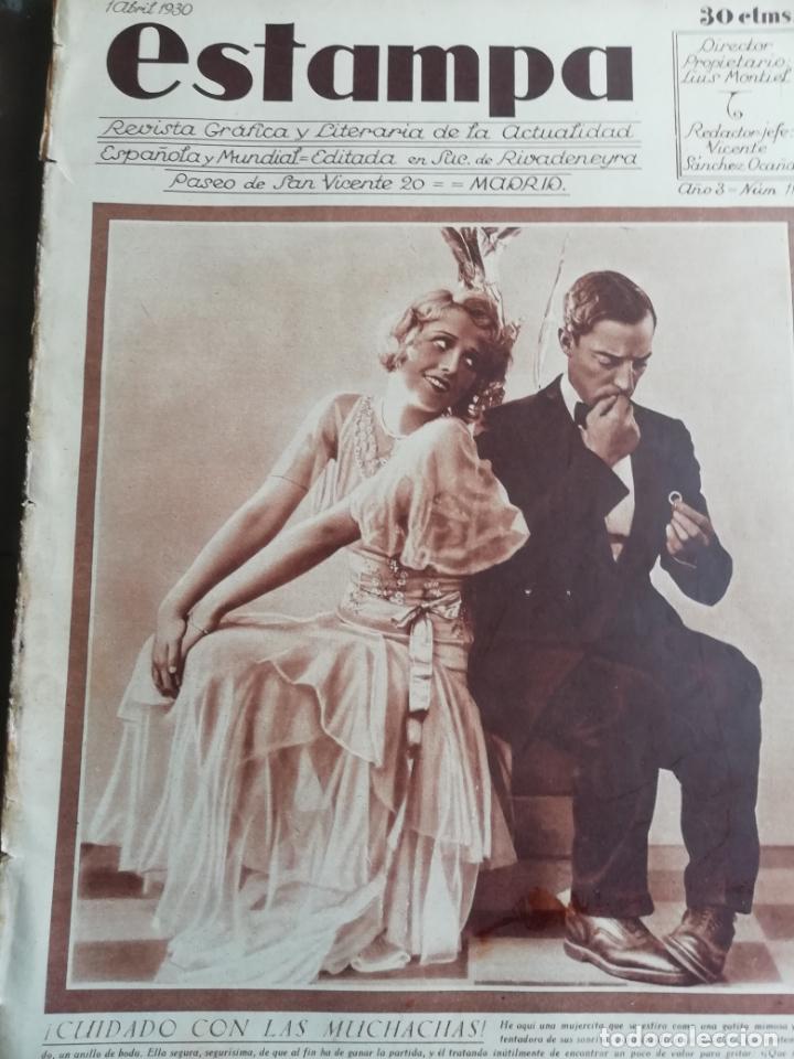 REVISTA ESTAMPA 1930 SEMANA SANTA CARTAGENA -ATH CLUB BILBAO-CALVARIOS DE ARTESA SAGUNTO JATIBA (Coleccionismo - Revistas y Periódicos Antiguos (hasta 1.939))