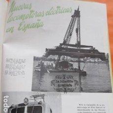Coleccionismo de Revistas y Periódicos: ARTICULO 1952 - NUEVAS LOCOMOTORAS ELECTRICAS EN ESPAÑA ALSTHOM 7600 PUERTO MUSEL RENFE FERROCARRIL. Lote 162911994