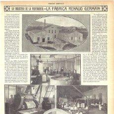 Collezionismo di Riviste e Giornali: 1912 HOJA REVISTA BARCELONA INDUSTRIA PERFUMERÍA FÁBRICA RENAUD GERMAIN CALLE SANS. Lote 163039610