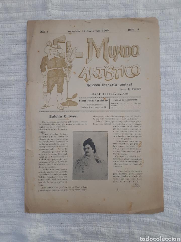 Coleccionismo de Revistas y Periódicos: Revista literaria - teatral. El Mundo Artístico. 1900 - 1901 - Foto 3 - 163611722