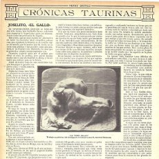 Coleccionismo de Revistas y Periódicos: 1912 HOJA REVISTA JEREZ TRABAJO ESCULTÓRICO 'UN TORO BRAVO' ESCULTOR JEREZANO ANTONIO BARAZONA. Lote 163948162