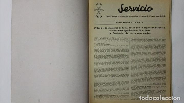Coleccionismo de Revistas y Periódicos: REVISTA SERVICIO, Nº 5, PUBLICACION DE LA DELEGACION NACIONAL DE EDUCACION, F.E.T. Y DE LAS J.O.N.S - Foto 2 - 164005218