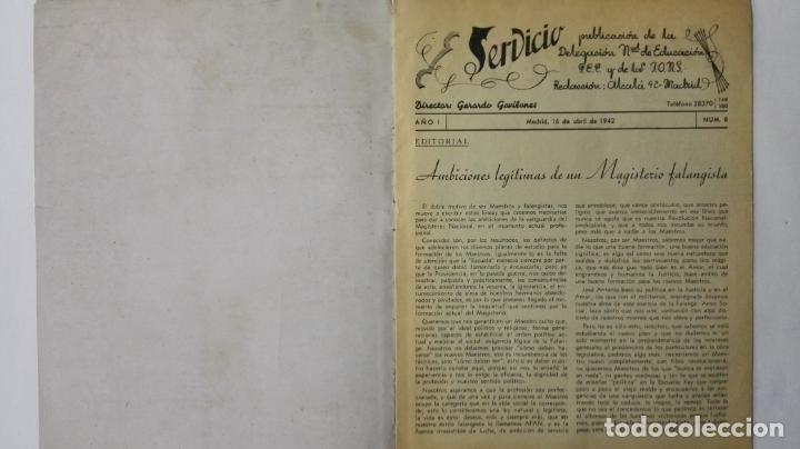 Coleccionismo de Revistas y Periódicos: REVISTA SERVICIO, Nº 8, PUBLICACION DE LA DELEGACION NACIONAL DE EDUCACION, F.E.T. Y DE LAS J.O.N.S - Foto 2 - 164005374