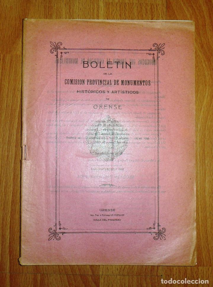 BOLETÍN DE LA COMISIÓN DE MONUMENTOS HISTÓRICOS Y ARTÍSTICOS DE ORENSE. TOMO IX, 1931, Nº 196 (Coleccionismo - Revistas y Periódicos Antiguos (hasta 1.939))