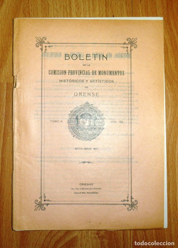 BOLETÍN DE LA COMISIÓN DE MONUMENTOS HISTÓRICOS Y ARTÍSTICOS DE ORENSE. TOMO IX, 1931, Nº 198 (Coleccionismo - Revistas y Periódicos Antiguos (hasta 1.939))