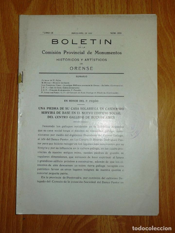 BOLETÍN DE LA COMISIÓN DE MONUMENTOS HISTÓRICOS Y ARTÍSTICOS DE ORENSE. TOMO IX, 1932, Nº 203 (Coleccionismo - Revistas y Periódicos Antiguos (hasta 1.939))