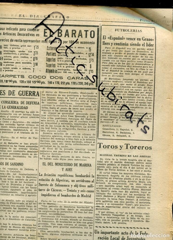DIA GRAFICO GUERRA CIVIL 1936 RCD ESPAÑOL FUTBOL GRANOLLERS ALEMANES EN CADIZ VILLAFRANCA LLARKUNDIA (Coleccionismo - Revistas y Periódicos Antiguos (hasta 1.939))