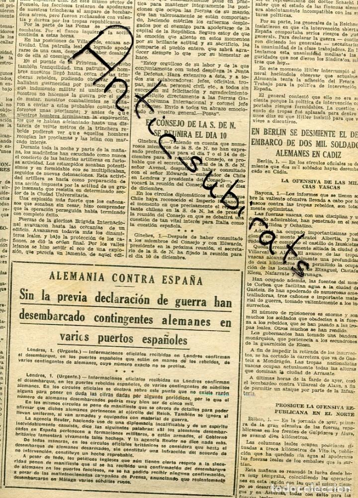 Coleccionismo de Revistas y Periódicos: DIA GRAFICO GUERRA CIVIL 1936 RCD ESPAÑOL FUTBOL GRANOLLERS ALEMANES EN CADIZ VILLAFRANCA LLARKUNDIA - Foto 2 - 164773126