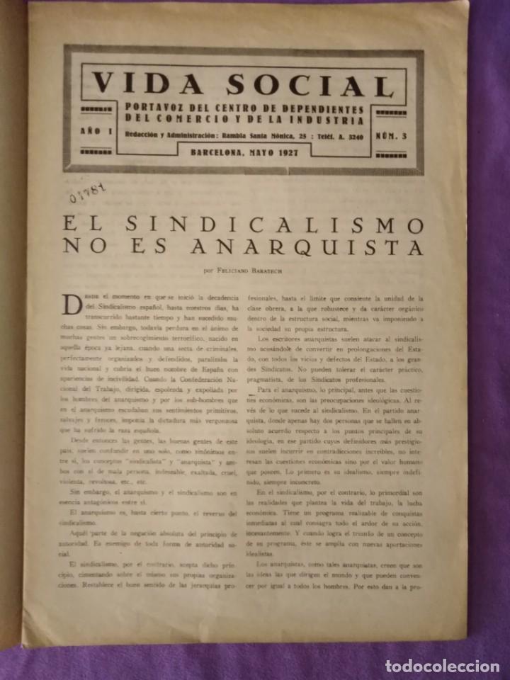Coleccionismo de Revistas y Periódicos: vida social portavoz del centro de dependientes del comercio y de la industria barcelona 1927 n 3 - Foto 3 - 165378902