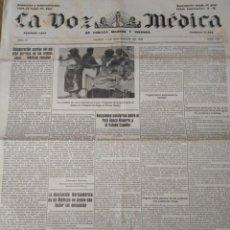 Coleccionismo de Revistas y Periódicos: LA VOZ MEDICA 1932 RELACIONES SANITARIAS PAIS VASCO NAVARRO Y ESTADO ESPAÑOL. Lote 165516150