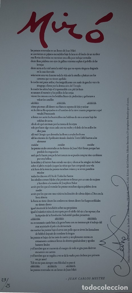 Coleccionismo de Revistas y Periódicos: Tropelías (tapa dura, 2015), con pliego Miró numerado y firmado por Juan Carlos Mestre (23/25) - Foto 4 - 165772872