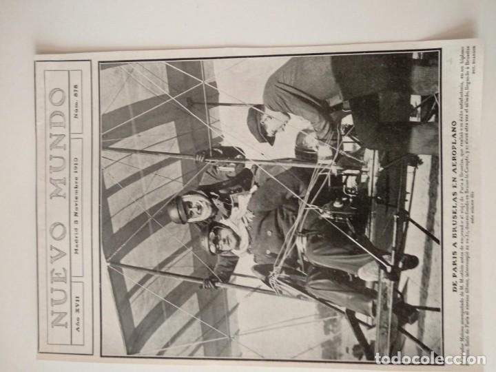 HOJA REVISTA ORIGINAL 1910. DE PARIS A BRUSELAS EN AEROPLANO, AVIADOR MAHIEU (Coleccionismo - Revistas y Periódicos Antiguos (hasta 1.939))