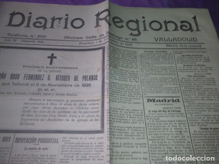 DIARIO VALLADOLID 1909 LOS ALCADES DE REAL ORDEN DIPUTANCION PROVINCAL CONSEJO DE GUERRA VICENTE AMB (Coleccionismo - Revistas y Periódicos Antiguos (hasta 1.939))