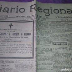 Coleccionismo de Revistas y Periódicos: DIARIO VALLADOLID 1909 LOS ALCADES DE REAL ORDEN DIPUTANCION PROVINCAL CONSEJO DE GUERRA VICENTE AMB. Lote 166018534