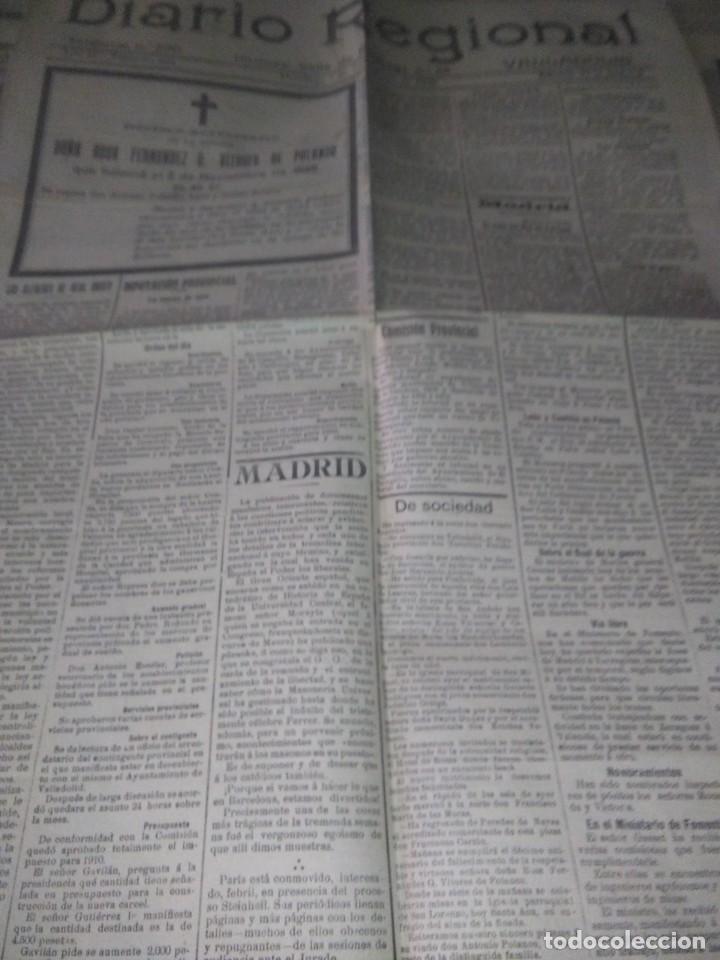 Coleccionismo de Revistas y Periódicos: DIARIO VALLADOLID 1909 LOS ALCADES DE REAL ORDEN DIPUTANCION PROVINCAL CONSEJO DE GUERRA VICENTE AMB - Foto 2 - 166018534