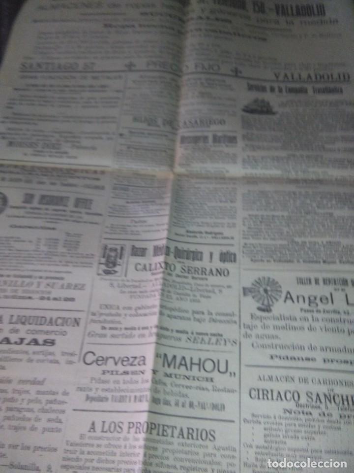 Coleccionismo de Revistas y Periódicos: DIARIO VALLADOLID 1909 LOS ALCADES DE REAL ORDEN DIPUTANCION PROVINCAL CONSEJO DE GUERRA VICENTE AMB - Foto 7 - 166018534