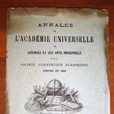 Coleccionismo de Revistas y Periódicos: ANNALES DE L'ACADEMIE UNIVERSELLE DES SCIENCES ET DES ARTS INDUSTRIELS ET... MAI 1892. - BRUXELLES. Lote 176157364