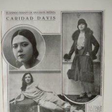 Coleccionismo de Revistas y Periódicos: HOJA REVISTA ORIGINAL 1926. ARTISTA PERUANA CARIDAD DAVIS. Lote 166284122