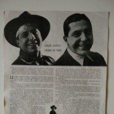 Coleccionismo de Revistas y Periódicos: HOJA REVISTA ORIGINAL 1926. CARLOS GARDEL, CREADOR DEL TANGO, POR MONTERO ALONSO. Lote 166285530