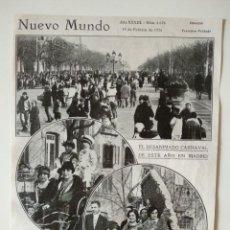 Coleccionismo de Revistas y Periódicos: HOJA REVISTA ORIGINAL 1926.DESANIMADO CARNAVAL DE MADRID. Lote 166286598