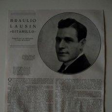 Coleccionismo de Revistas y Periódicos: HOJA REVISTA ORIGINAL 1926. BRAULIO LAUSIN GITANILLO. Lote 166293030