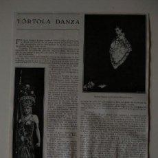 Coleccionismo de Revistas y Periódicos: HOJA REVISTA ORIGINAL 1926. TORTOLA DE VALENCIA, DANZA. Lote 166293166