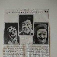 Coleccionismo de Revistas y Periódicos: HOJA REVISTA ORIGINAL 1926. LOS HERMANOS FRATELLINI, PAYASOS CIRCO. Lote 166293566