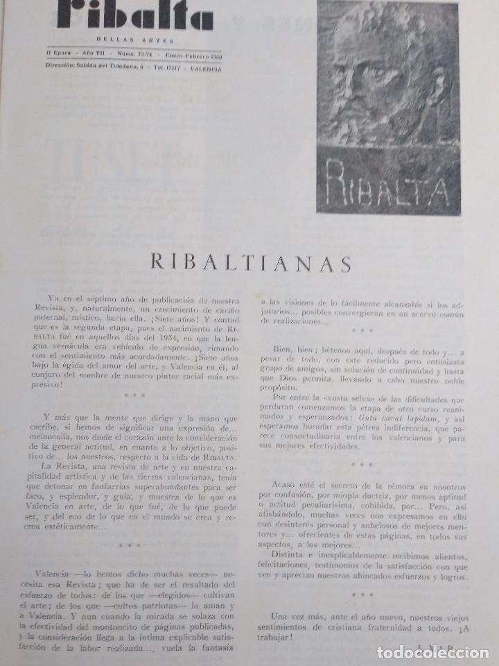 Coleccionismo de Revistas y Periódicos: Ribalta. Bellas Artes. Valencia - Foto 2 - 166723622