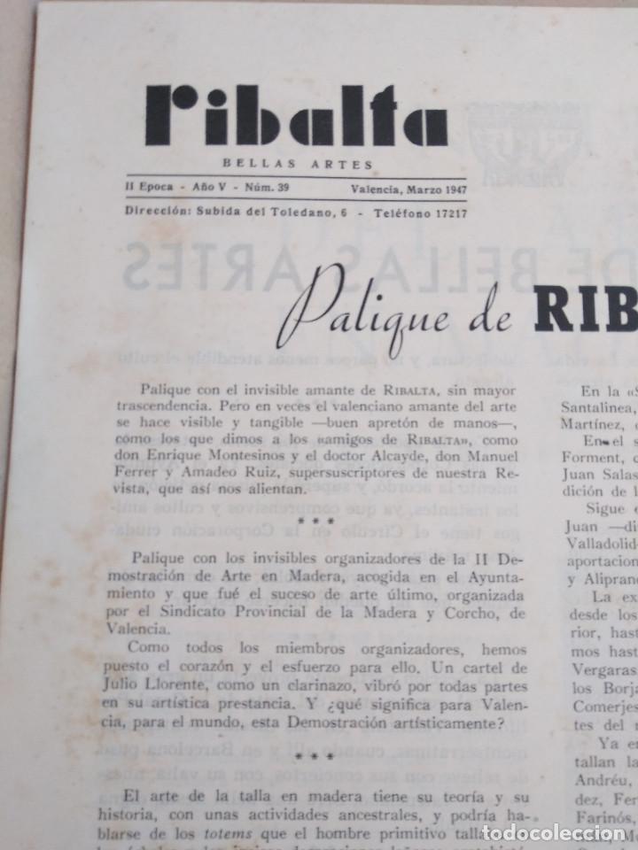Coleccionismo de Revistas y Periódicos: Ribalta. Bellas Artes. Valencia - Foto 5 - 166723622