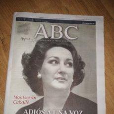 Coleccionismo de Revistas y Periódicos: MONTSERRAT CABALLÉ ADIÓS A UNA VOZ ABC 7 OCTUBRE 2018. Lote 166876561