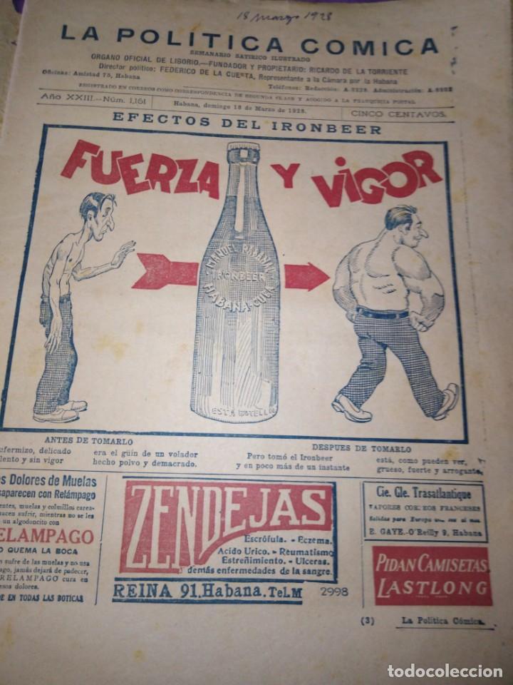 Coleccionismo de Revistas y Periódicos: LA POLITICA COMICA EROTICO SEMANARIO SATIRICO ILUSTRADO LA HABANA 1928 - Foto 3 - 167412832