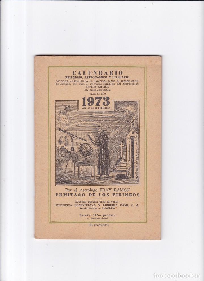 CALENDARIO - RELIGIOSO, ASTRONOMICO Y LITERARIO - FRAY RAMON / ERMITAÑO DE LOS PIRINEOS 1973 (Coleccionismo - Revistas y Periódicos Modernos (a partir de 1.940) - Otros)