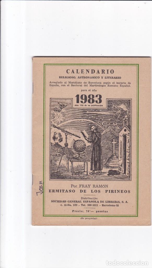 CALENDARIO - RELIGIOSO, ASTRONOMICO Y LITERARIO - FRAY RAMON / ERMITAÑO DE LOS PIRINEOS 1983 (Coleccionismo - Revistas y Periódicos Modernos (a partir de 1.940) - Otros)