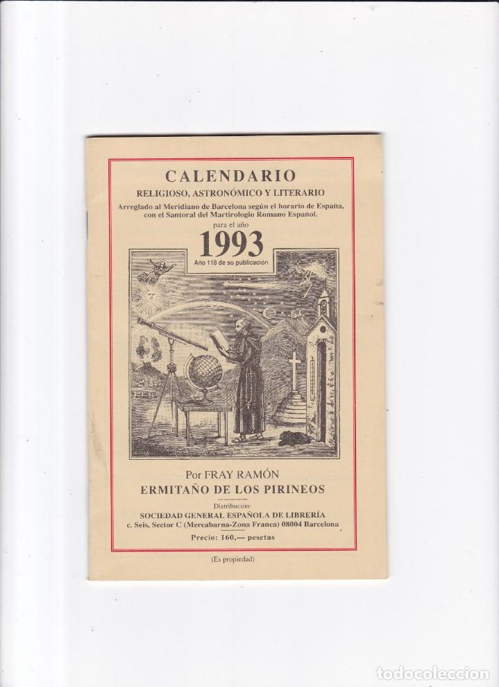 CALENDARIO - RELIGIOSO, ASTRONOMICO Y LITERARIO - FRAY RAMON / ERMITAÑO DE LOS PIRINEOS 1993 (Coleccionismo - Revistas y Periódicos Modernos (a partir de 1.940) - Otros)