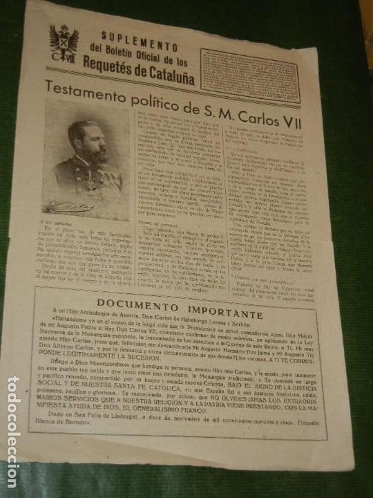 CARLISMO: SUPLEMENTO BOLETIN OFICIAL REQUETES DE CATALUÑA - 1947 (Coleccionismo - Revistas y Periódicos Modernos (a partir de 1.940) - Otros)